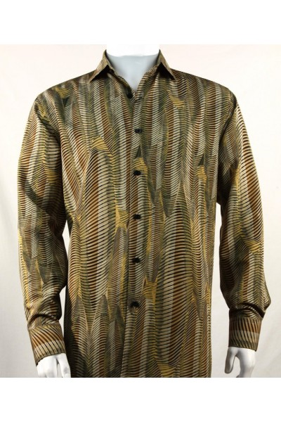 Bassiri L/S Button Down Men's Shirt - Pattern Green / Gold