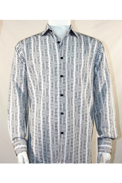 Bassiri L/S Button Down Men's Shirt - Mini Dots B/W
