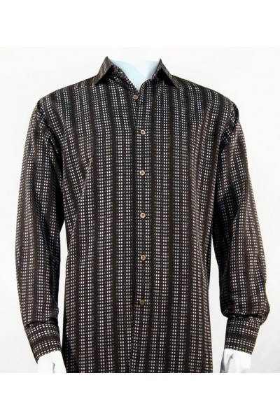 Bassiri L/S Button Down Men's Shirt - Mini Dots Black Brown