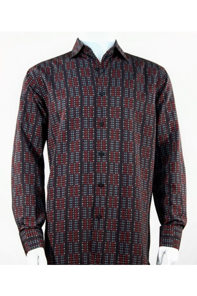 Bassiri L/S Button Down Men's Shirt - Mini Dots Burgundy