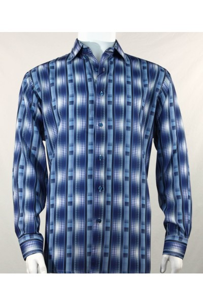 Bassiri L/S Button Down Men's Shirt - Pattern Stripe Blue