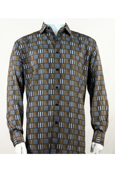 Bassiri L/S Button Down Men's Shirt - Squares Print / Bronze