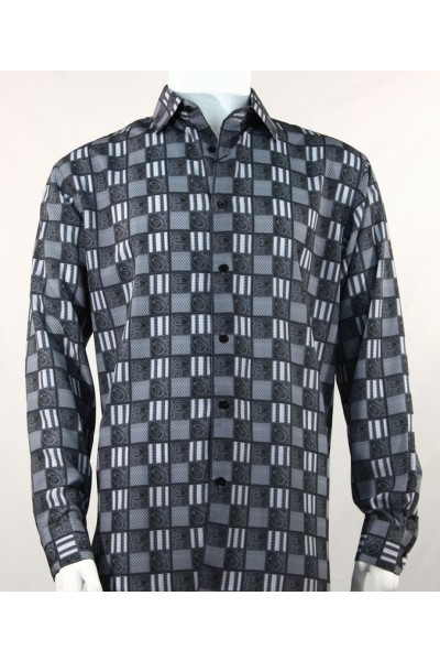 Bassiri L/S Button Down Men's Shirt - Squares Print / Black