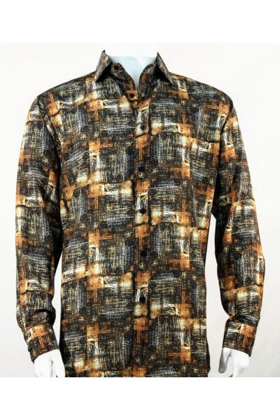 Bassiri L/S Button Down Men's Shirt - Pattern / Copper