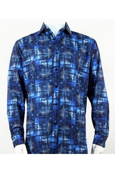 Bassiri L/S Button Down Men's Shirt - Pattern / Blue
