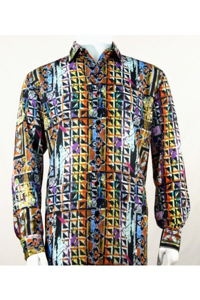Bassiri L/S Button Down Men's Shirt - Abstract / Multi Blue