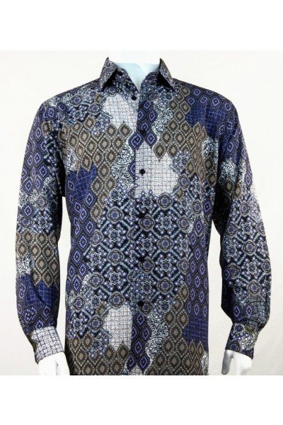 Bassiri L/S Button Down Men's Shirt - Design / Blue
