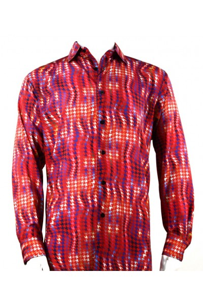 Bassiri L/S Button Down Men's Shirt - Houndstooth / Red