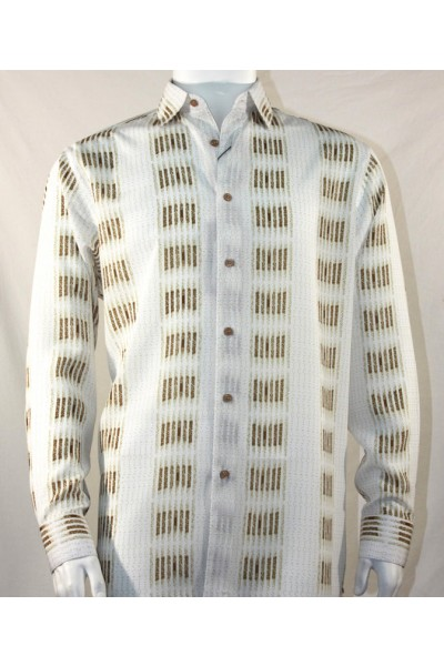 Bassiri L/S Button Down Men's Shirt - Bronze Stripe Squares