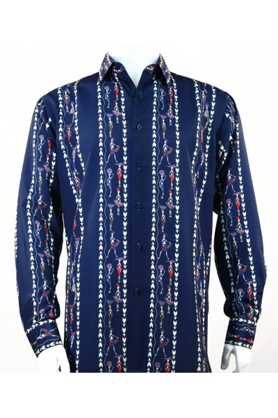 Bassiri L/S Button Down Men's Shirt - Native Girls / Blue