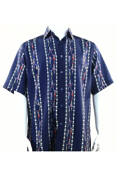 Bassiri S/S Button Down Men's Shirt - Natives / Blue