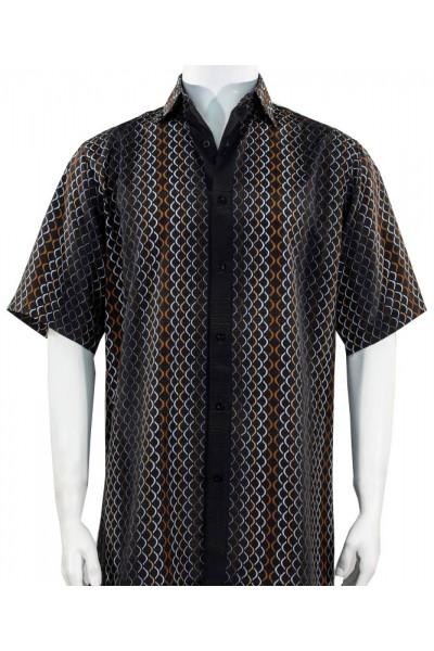 Bassiri S/S Button Down Men's Shirt - Pattern Stripe / Black