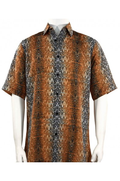 Bassiri S/S Button Down Men's Shirt - Abstract / Rust