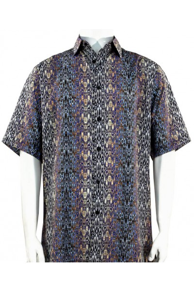 Bassiri S/S Button Down Men's Shirt - Abstract / Multi