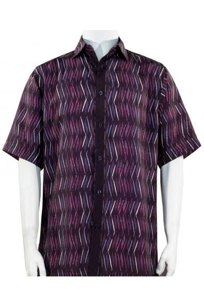 Bassiri S/S Button Down Men's Shirt - Pattern / Fuschia