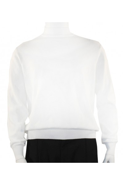 Bassiri L/S Men's Knit Mock Neck - White