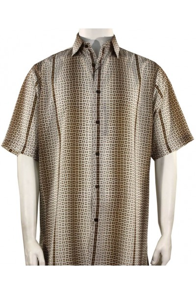 Bassiri S/S Button Down Men's Shirt - Geometric / Brown