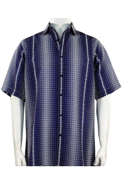 Bassiri S/S Button Down Men's Shirt - Geometric / Navy