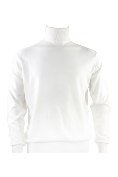 Bassiri L/S Men's Knit Turtleneck - White