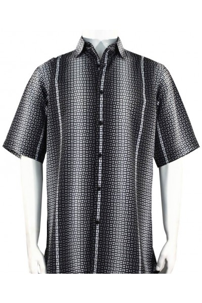 Bassiri S/S Button Down Men's Shirt - Geometric / Black