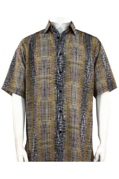 Bassiri S/S Button Down Men's Shirt - Mesh Pattern / Taupe