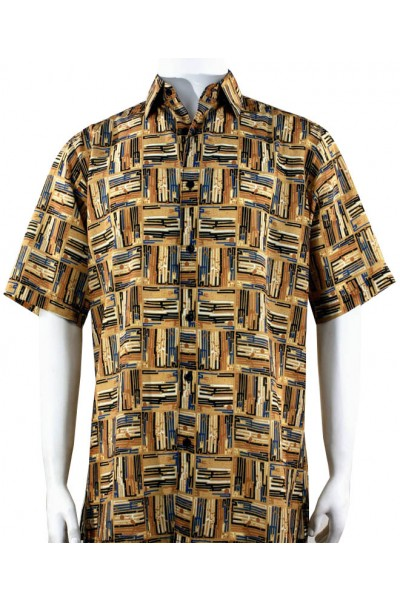 Bassiri S/S Button Down Men's Shirt - Pattern Squares / Gold