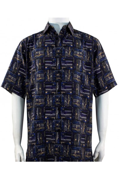 Bassiri S/S Button Down Men's Shirt - Pattern Squares / Navy