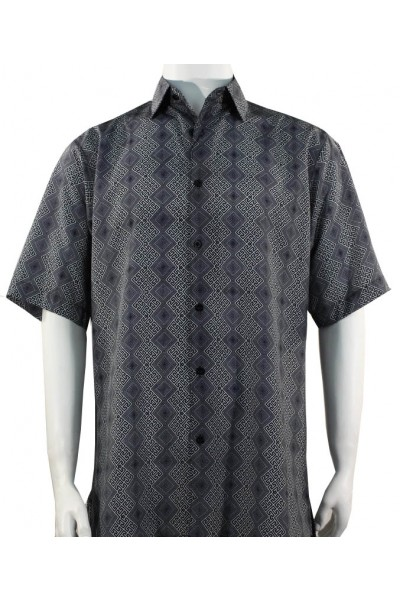Bassiri S/S Button Down Men's Shirt - Diamond Pattern / Charcoal
