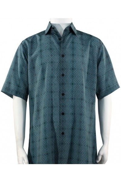 Bassiri S/S Button Down Men's Shirt - Diamond Pattern / Turquoise
