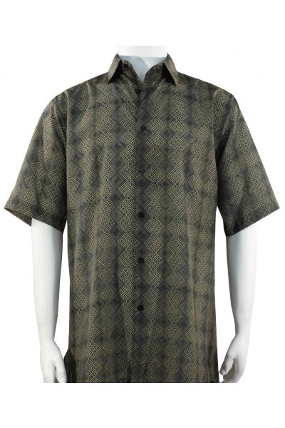 Bassiri S/S Button Down Men's Shirt - Diamond Pattern / Olive