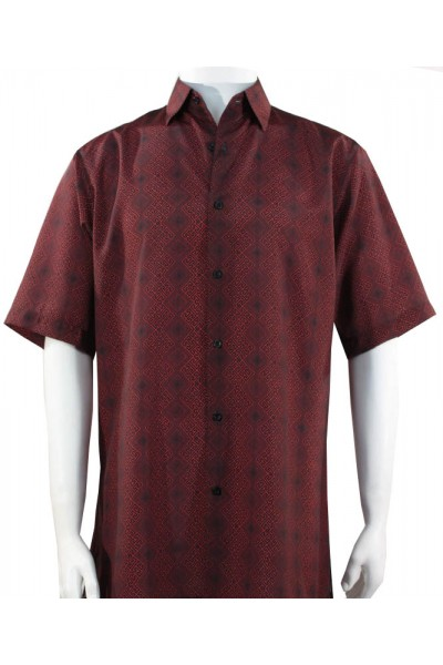 Bassiri S/S Button Down Men's Shirt - Diamond Pattern / Burgundy