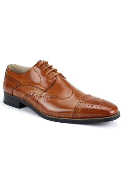 Brogue Lace-Up Men's Shoe by Giovanni - Tan