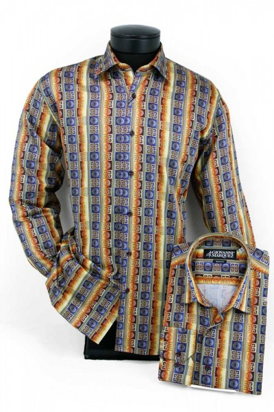 Giovanni Marquez Men's European Shirt - Navy / Gold Greek Key a