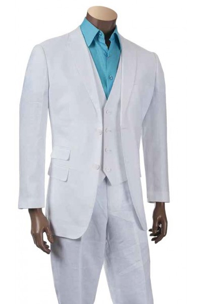 Men's 100% Linen Fashion Suit by Merc/InSerch - White