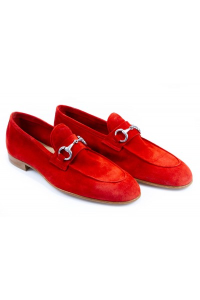 Giovanni Marquez Men's Shoes - Slip-On / Red Suede a
