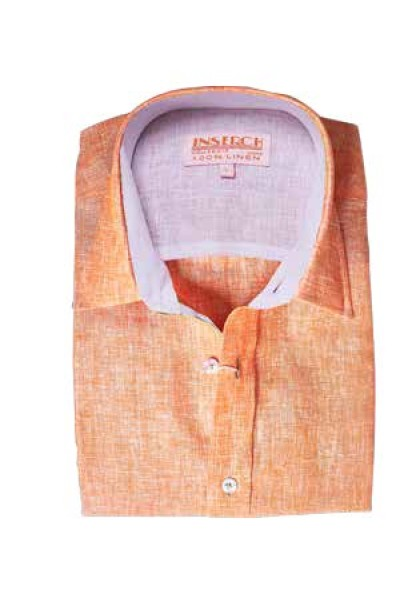 Men's 100% Linen S/S Shirt by Inserch / Merc - Papaya
