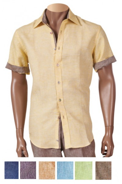 717, Men's 100% Linen Fashion Shirt by Merc/InSerch - 7 Colors