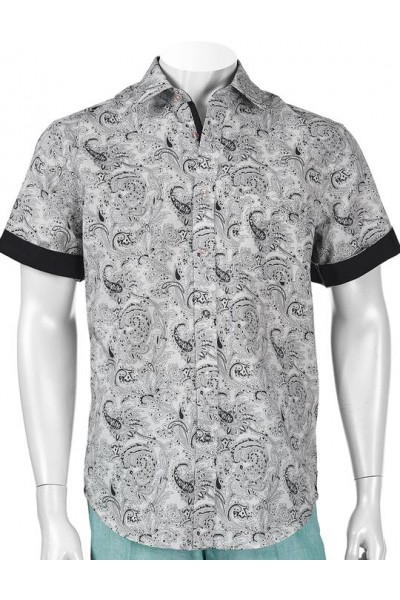Men's 100% Linen S/S Shirt by Inserch / Merc - B/W Paisley a
