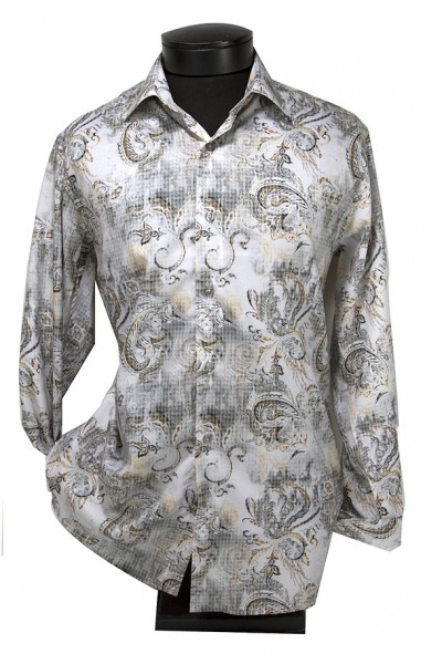 Giovanni Marquez Men's Italian Shirt - Paisley Grey a