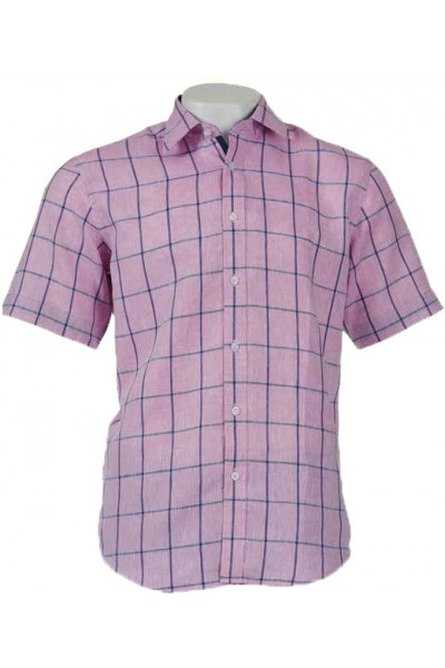 Men's 100% Linen S/S Shirt by Inserch / Merc - Pink Check