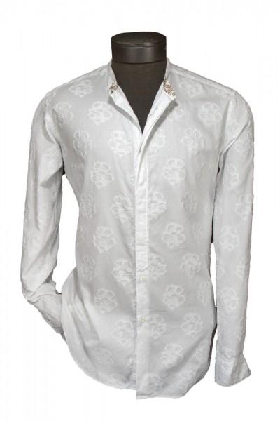 Giovanni Marquez Italian Cotton Shirt - White on White - Floral