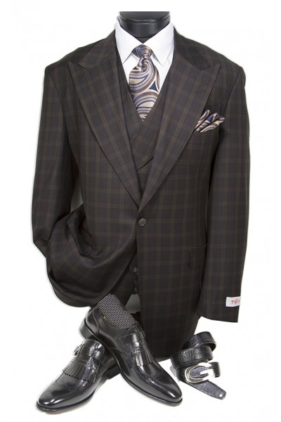 3 Pc Full Cut Men's Suit  by Tiglio Rosso - New Rosso Brown Plaid