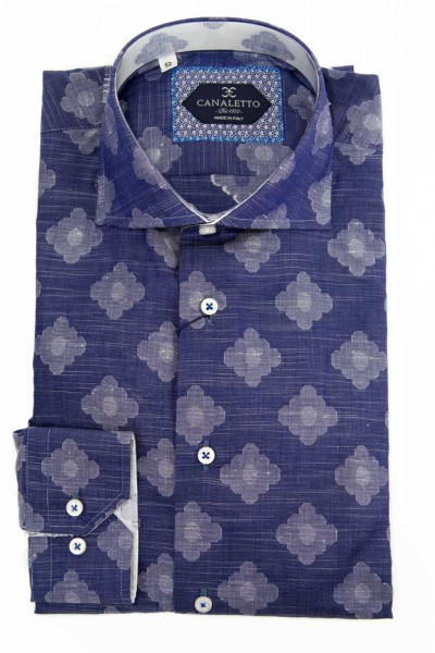 Canaletto L/S Sport Shirt - Blue with White Diamond Pattern