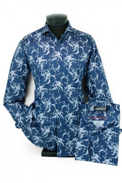 Giovanni Marquez Men's European Shirt - Navy / Light Blue Filgree a