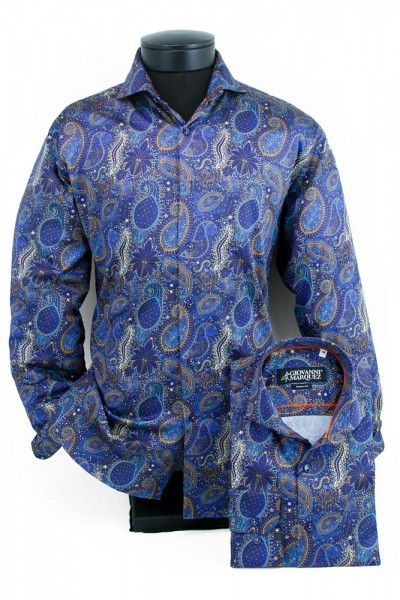 Giovanni Marquez Men's European Shirt - Deep Blue / Paisley Pattern a