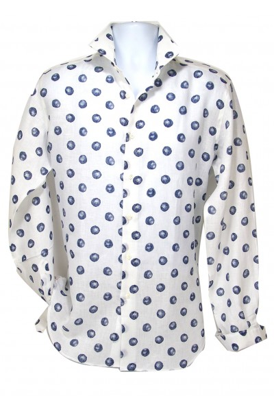 Giovanni Marquez Italian Cotton Shirt - White / Blue Dot