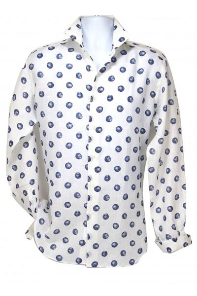 Giovanni Marquez Italian Cotton Shirt - White / Blue Dot