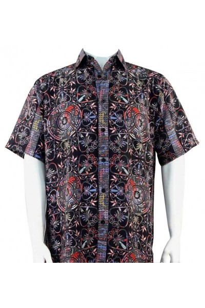 Bassiri S/S Button Down Men's Shirt - Festive Pattern / Red