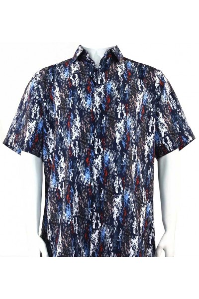 Bassiri S/S Button Down Men's Shirt - Paint Dabs / Navy