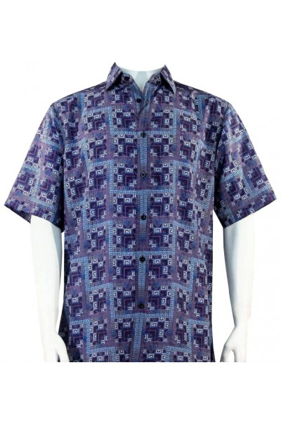 Bassiri S/S Button Down Men's Shirt - Greek Key Blocks / Blue